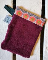 Gant de toilette d'apprentissage - violet fleurs orange gris