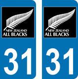 Lot de 2 stickers All Blacks avec N° 31