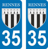 Lot de 2 stickers Blason Rennes N&B n° 35