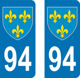 Lot de 2 Blasons Ile de France 94 Val de Marne