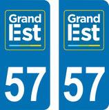 Lot de 2 adhésifs GRAND EST Lorraine 57 Moselle