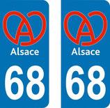 Lot de 2 stickers Logo de l'Alsace 68 haut rhin