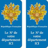 Lot de 2 stickers Emblémes de la France N° au choix