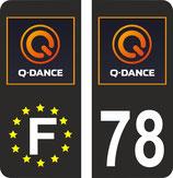 Lot de 2 stickers Perso logo Q Dance fond noir n° 78 et 2 stickers Europe Q Dance fond noir