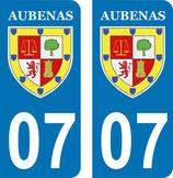 Lot de 2 paires de stickers Aubenas 07 en 110 mm H et 2 paires stickers Ternay en 102,4