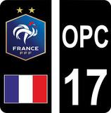Lot de 2 stickers FFF coté gauche avec drapeau et fond noir et 2 stickers coté droit perso avec texte OPC et n° 17