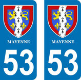 Lot de 2 stickers Armoiries de la Mayenne N° 53