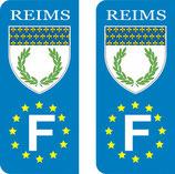 Lot de 2 stickers Ville de Reims Europe