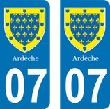 Lot de 2 stickers Armoiries de l'Ardèche 07 Rhône Alpes