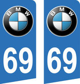Lot de 2 stickers BMW dimensions spécifique 105 x 97 x 45