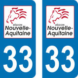Lot de 2 stickers Nouvelle Aquitaine n° 33