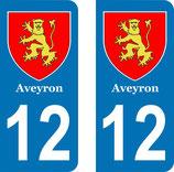 Lot de 2 Blasons Midi-Pyrénées 12 Aveyron