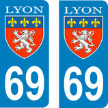 Lot de 2 stickers  ville de Lyon