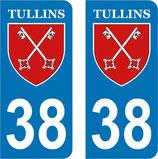 Lot de 15 paires de stickers ville de Tullins N° 38