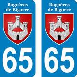 Lot de 2 stickers ville de Bagnères de Bigorre n° 65