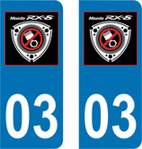 Lot de 2 stickers Mazda RX8 avec N° 03