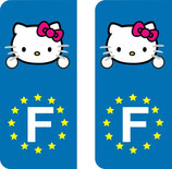 Lot de 2 stickers Hello Kitty et europe