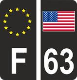 Lot de 2 stickers Europe fond noir et 2 stickers drapeau américain fond noir et n° 63