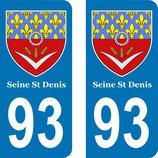 Lot de 2 Blasons armoiries 93 Seine St Denis
