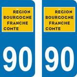 Lot de 2 adhésifs nouveau logo Bourgogne Franche Comté 90 territoire de Belfort