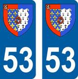 Lot de 2 Blasons Pays de Loire 53 Mayenne