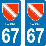 Lot de 2 adhésifs avec Blason Alsace 67 Bas Rhin