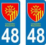 Lot de 2 adhésifs Blasons Languedoc Roussillon 48 Lozère