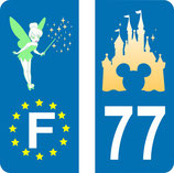 Lot de 2 stickers Château de Disney N° 77 et 2 stickers Fée Clochette Europe