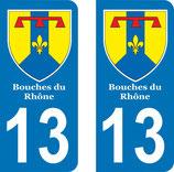 Lot de 2 Blasons Bouches du Rhône 13