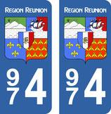 Lot de 2 adhésifs Blason Ile de la Réunion