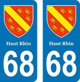 Lot de 2 adhésifs avec Blason Alsace 68 Haut Rhin