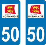 Lot de 2 stickers région Normandie n° 50 Manche