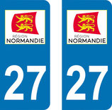 Lot de 2 stickers région Normandie n° 27 Eure