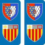 Lot de 2 stickers Armoiries Pays de Loire et Aix en Provence