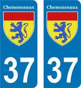 """Lot de 2 paires de stickers perso """"Chenonceaux"""" en 110 mm H   n°37"""