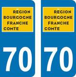 Lot de 2 adhésifs nouveau logo Bourgogne Franche Comté 70 Haute Saone
