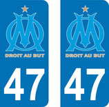 Lot de 2 stickers OM avec n° 47