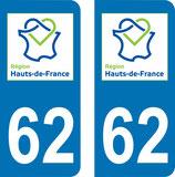 Lot de 2 adhésifs Hauts de France 62 Pas de Calais