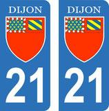 Lot de 2 stickers  Blason ville de Dijon