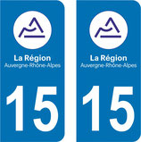 Lot de 2 stickers Auvergne Rhône Alpes 15 Cantal