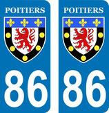 Lot de 2 adhésifs de la ville de Poitiers
