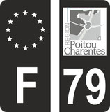 Lot de 2 stickers F Europe fond noir et 2 stickers Poitou Charente ancien logo en N&B fond noir