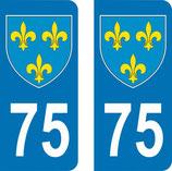 Lot de 2 Blasons Ile de France 75 Paris