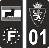 Lot de 4 stickers spéciaux noir et blanc avec drapeau et N° 01 hauteur de 106 mm