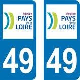 Lot de 2 adhésifs Pays de Loire 49 Maine et Loire