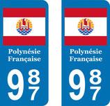Lot de 2 stickers Polynésie Française drapeau