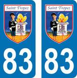 Lot de 2 stickers St Tropez avec Louis de Funés et n° 83