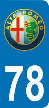 Lot de 2 stickers Alfa roméo avec n°78 dimension spéciales  30 x 65