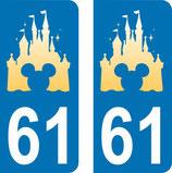Lot de 2 stickers chateau Disney avec tête de Mickey avec le n°61