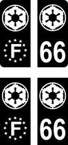 Lot de 4 stickers Empire Europe et n° 66.   2 coins classiques  et 2 coins carrés fond noir étoiles blanches